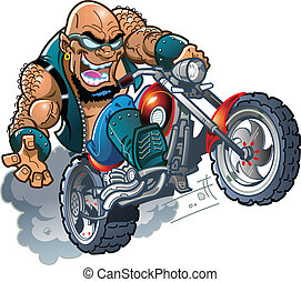 Wild Bald Biker Dude - Wild Crazy Bald Smiling Biker Dude...