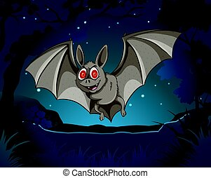 Wild bat flying in jungle at night