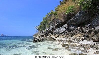 Wild beach with rocks.  - Thailand, Krabi. Full HD video.