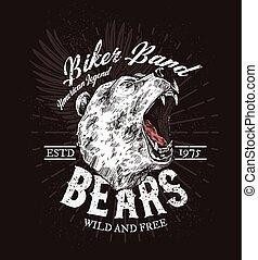 Wild bear roaring, biker club t-shirt print