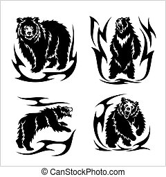Wild bears ina tribal style isolated on white. Vector...