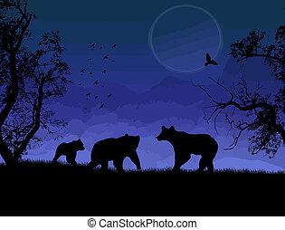 Wild bears silhouette on beautiful blue landscape vector ...