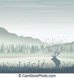 wild, berge, elch