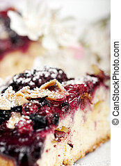 Wild berries cake closeup with blurred background