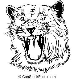 Wild Big Cat - black outline illustration