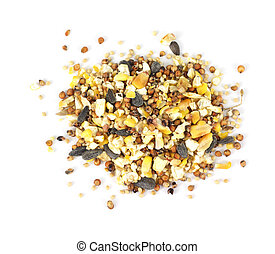 Wild bird food seeds on a white background.