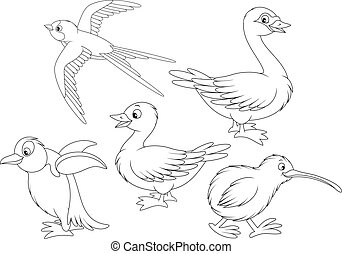 Wild birds - Martin, duck, swan, kiwi and penguin, black and...