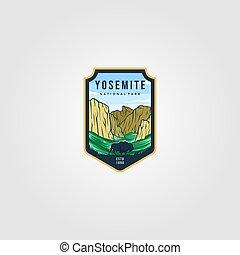 wild bison on yosemite national park logo outdoor vector illustration