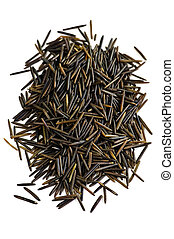 Wild black long grain rice - Pile of black wild long grain ...