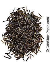 Wild black long grain rice - Pile of black wild long grain...