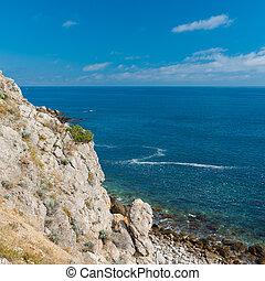 Black sea shore at spring season, Cape Martyan, Crimea