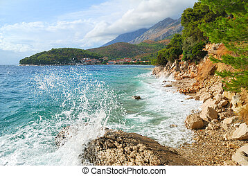 Wild blue sea and cloudy sky landscape