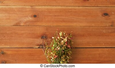 wild blueberry in autumn colors on wooden table - nature,...