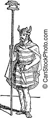 Wild Boar as a Gallic Badge, vintage engraving