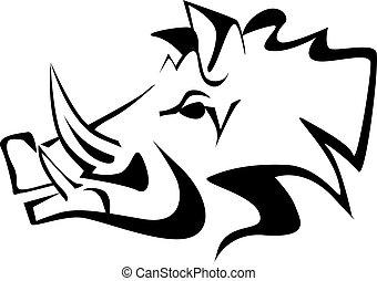 wild boar black drawing vector eps 10