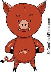 Wild boar cartoon icon