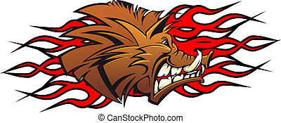 Wild boar cartoon - Wild boar head in cartoon as a tattoo or...