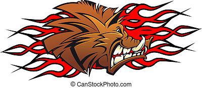 Wild boar head in cartoon as a tattoo or mascot