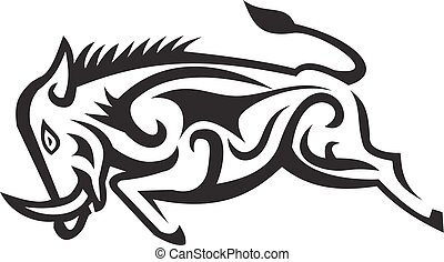 Wild Boar Charging Tribal Art - Illustration of a Wild Boar ...