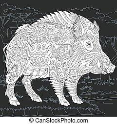 Wild boar coloring page