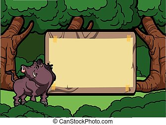 Wild boar forest scene with wood