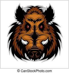 Wild Boar Head Logo Mascot Emblem - color on white