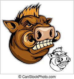wild boar head mascot - isolated on white - vector...