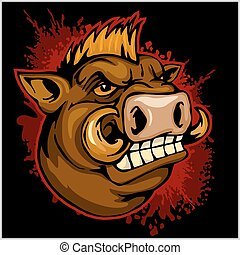 wild boar head mascot