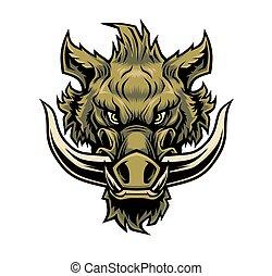 Wild boar head mascot.