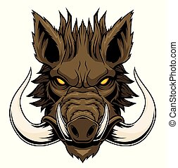 Wild boar head mascot. - Vector illustration for use as ...