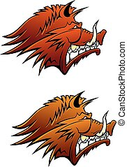 Wild boar head with aggressive sharp tusks, for sporting mascot, hunting or tattoo design