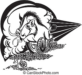 wild boar on wheels. Vector illustration. - wild boar on...