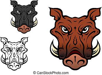 Wild boar or hog in cartoon style for sports team mascot