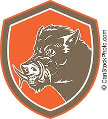Wild Boar Razorback Head Side Shield Retro - Illustration of...