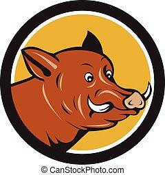 Wild Boar Razorback Head Startled Circle Cartoon
