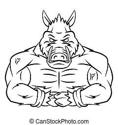 Wild Boar Strong Mascot