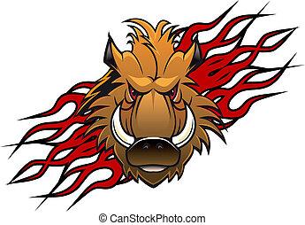 Wild boar head in cartoon style as a tattoo or mascot