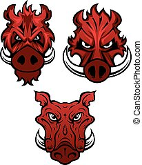 Red wild boars heads with dangerous sharp tusks isolated on white background, for tattoo or mascot design