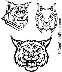 Head logo of a wild bobcat or lynx for masot or wildlife design, isolated on white background