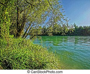 Wild Brenta River in North Italy Summer 2014