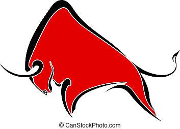 wild, buffel, rood