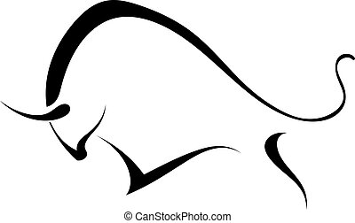wild, bull., silhouette