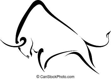 wild, bull., sterke, silhouette