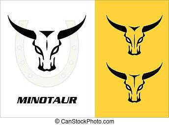 Wild bulls, minotaur, three wild bulls head with the bold...
