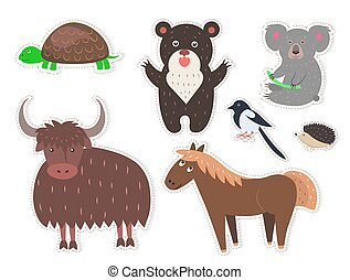 Wild Cartoon Animals Isolated Stickers Collection