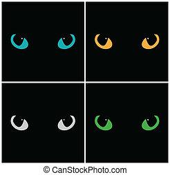 Wild cat eyes on black background. Vector set
