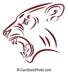 aggressive wildcat fangs tattoo vector illustration