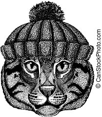 Wild cat Fishing cat Cool animal wearing knitted winter hat. Warm headdress beanie Christmas cap for tattoo, t-shirt, emblem, badge, logo, patch