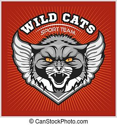 Wild cat head - design for logo and sport emblem