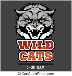Wild cat head - design for logo and sport emblem - Wild cat...